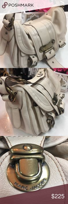 "MARC JACOBS Large Beige Leather Satchel Excellent condition.. super clean! No issues. 14.5"" L x 8.5"" w x 9""h x 9"" drop shoulder strap;  Zip closure pocket inside; spacious exterior pockets  brass hardware. This bag is really gorgeous!! Beautiful large leather handbag. This color goes with everything  NO TRADE CLOSET!!! 🎈🎈 Marc Jacobs Bags Satchels"