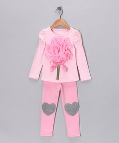 Pink Rose & Heart Tunic & Leggings - Toddler & Girls