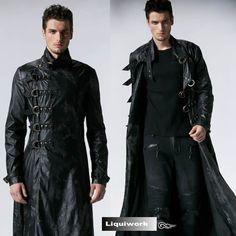 Gorgeous! IMPERO LONDON mens black leather military steampunk