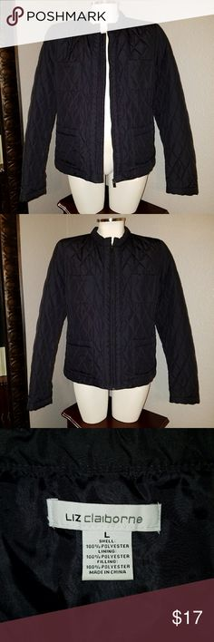 Liz Claiborne Navy Quilted Jacket Large, navy blue quilted jacket. Only worn a few times. Like new. Thanks for shopping! 😁 Liz Claiborne Jackets & Coats