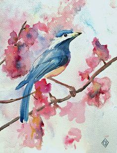 Bluebird - 8x10 Original watercolor painting - nature art - $40