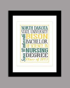 Unique personalized college graduation gift by FotoCreationsByM - NDSU Bison graduation gift.