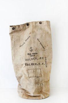 Vintage Navy Canvas Bag