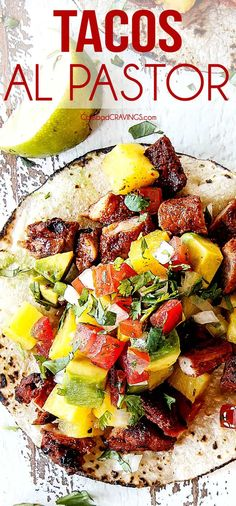 Tacos al pastor recipe video. up close top view of al pastor pork on a corn tortilla with grilled pineapple, Healthy Grilling Recipes, Grilled Steak Recipes, Marinated Pork, Grilled Pork, Healthy Salad Recipes, Pork Recipes, Mexican Food Recipes, Healthy Snacks, Cooking Recipes