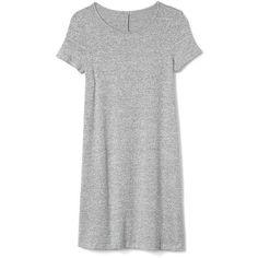 Gap Women Supersoft Knit Short Sleeve T Shirt Dress (€57) ❤ liked on Polyvore featuring dresses, light grey marle, tall, knit jersey, swing skirt, short sleeve jersey, short sleeve t shirt dress and tee dress