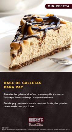 ¡Un toque de chocolate en la base es el secreto para volver inigualable el sabor de tus pays! Esta #MiniReceta te explica cómo prepararla. ;) INGREDIENTES: -1 ½ tazas o 40 galletas sabor vainilla finamente molidas -½ taza o 150 g de azúcar glas -1/3 de taza o 50 g de mantequilla derretida -1 cucharada o 10 g de Cocoa Hershey's® #minireceta #chocolate #pay #cocoa #comida #postre #delicioso #dulce