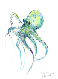 Octopus 12 X 9 in original watercolor painting by ORIGINALONLY, $32.00