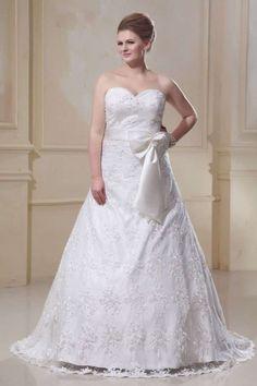 CHRISTY - A-line Sweetheart Chapel train Lace Wedding dress