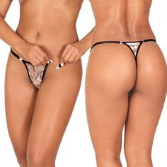 Sensualle Vem Cá Animal Print Thong. Sexy animal print thong with two detachable front closures. Adjustable waist straps for perfect fit. Sexy thong, ladies underwear, women's panties. #thong #underwear #lingerie