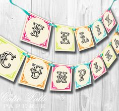 Vintage Fiesta Party, Mexican Party - PRINTABLE BIRTHDAY BANNER - Cutie Putti Paperie. $7.50, via Etsy.