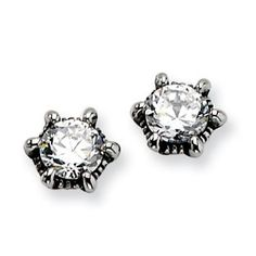 Shop for Chisel Stainless Steel Antiqued CZ Post Earrings. Get free delivery On EVERYTHING* Overstock - Your Online Jewelry Shop! Fashion Earrings, Fashion Jewelry, Women Jewelry, Jewelry Gifts, Fine Jewelry, Unique Jewelry, Gemstone Earrings, Women's Earrings, Kids Earrings
