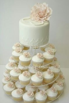 foter.com Tiered White Wedding Cake with Cupcakes