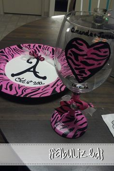 Custom hand painted pink & black zebra striped plate and wine glass set <3 $30
