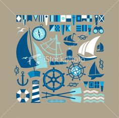 Sailing symbols Royalty Free Stock Vector Art Illustration