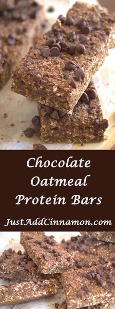 Delicious and healthy, these chocolate oatmeal protein bars are filled with tasty oats, protein powder, and chocolate. The perfect energy snack or afternoon treat! More from my siteSteel Cut Oatmeal Energy Bites Chocolate Protein Bars, Protein Oatmeal, Healthy Protein Snacks, Chocolate Oatmeal Cookies, Protein Bar Recipes, Healthy Bars, Protein Powder Recipes, Oatmeal Cookie Recipes, Oatmeal Smoothies
