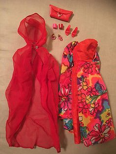 HTF-RARE-BArbie-Stacey-FLOATING-GARDENS-1696-Floral-Print-Dress-amp-Accessories