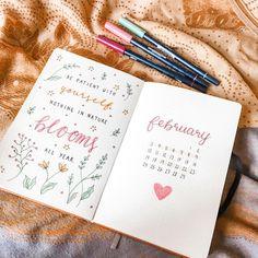 February bullet journal setup 🙈 February Bullet Journal, Studying, Bloom, Study, Studio, Learning, Education