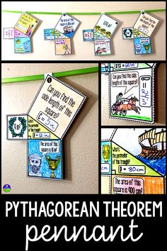 In this collaborative Pythagorean Theorem math pennant activity, students work with the Pythagorean Theorem to find missing side lengths of right triangles and the area and perimeter of the center triangles. Each pennant also includes Greek line art for students to color so that the end product makes a fun math bulletin board display. #pythagoreantheorem #mathpennant