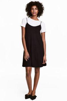 Платье-комбинация - Черный - Женщины   H&M RU 1