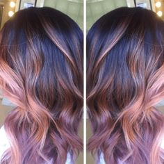 dusty rose gold with chocolate mauve hair color Elegant Hairstyles, Pretty Hairstyles, Chocolate Mauve Hair, How To Bayalage Hair, Hair Color And Cut, Gold Hair, Purple Hair, Grunge Hair, Hair Today