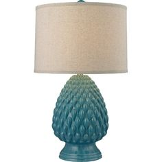 Cast a warm glow in your office or library with this lovely table lamp, featuring a textured ceramic base in deep seafoam.  Product:...