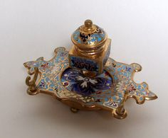 A stunning 19th Century champleve French enamel inkwell.