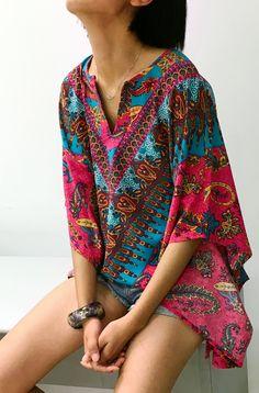 Women's Bohemian Paisley Print Shift Mini Pink Dress.boho fashion summer ,boho fashion summer hippie