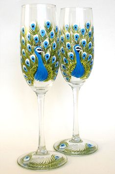 bottle crafts wedding Set of 2 Hand Painted Champagne Flutes Peacock Hand Painted Wine Glasses Hand Painted Glassware Stemware Painted Glass Wedding Personalized Wine Glass Crafts, Wine Craft, Bottle Crafts, Painted Wine Bottles, Hand Painted Wine Glasses, Painted Champagne Flutes, Champagne Glasses, Diy Wine Glasses, Wine Glass Holder