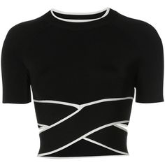 T By Alexander Wang cropped twist-front T-shirt (17,840 INR) ❤ liked on Polyvore featuring tops, t-shirts, cropped, shirts, black, strappy top, twist front t shirt, twisted tees, strap shirt and t shirt