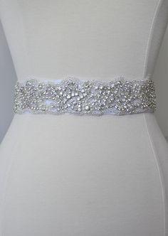 Wedding sash, Crystal rhinestone beaded bridal sash, bridesmaid sash with tie back