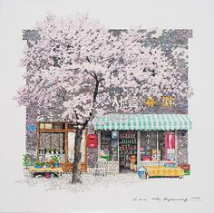 (Korea) A disappearing small store, 2017 by Lee Me Kyeoung ). ink on paper with a pen use the acrylic. Japanese Watercolor, Japanese Art, Lee And Me, Background Drawing, List Of Artists, Color Pencil Art, Korean Artist, Anime Sketch, Watercolor Illustration