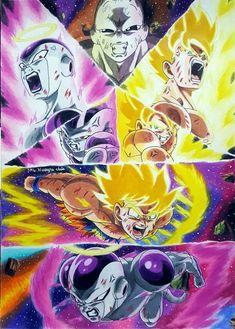 Freezer y Goku vs Jiren Dragon Ball Z, Dragon Ball Image, Goku Y Freezer, All Out Anime, Akira, Goku Vs Jiren, Manga Dragon, Ghost Rider Marvel, Ball Drawing