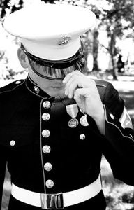 Men in uniform. The Marines dress blues uniform is the most admired uniform in all the services. Once A Marine, Marine Mom, The Few The Proud, Military Love, Us Marines, Men In Uniform, Raining Men, Usmc, Beautiful Men
