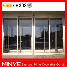 aluminum sliding door sensors of automated door with tempered glass