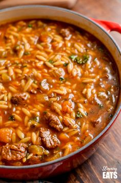 Syn Free Beef Celery Orzo Stew - a simple throw together meal that is perfect any day of the week. Slimming World and Weight Watchers friendly Celery Recipes, Orzo Recipes, Beef Recipes, Healthy Recipes, Healthy Meals, Chicken Recipes, Slimming World Soup Recipes, Scitec Nutrition, Nutrition Articles