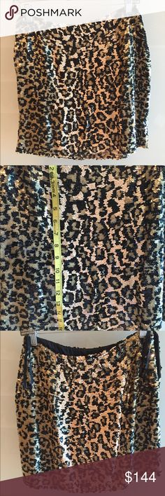 Vintage Oleg Cassini leopard sequin skirt Size 8 but I think more like a 6 so see measurements. I hemmed the skirt but didn't cut it so you can let down the hem if you want it longer. This is stunning and high waisted Oleg Cassini Skirts Pencil