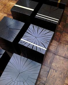 Carbonised polished inlaid end grain
