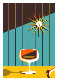 Mid-Century poster by illustrator Jeremy Booth. Inspired by the 1950's interior design.