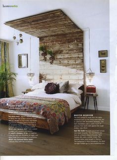 in love with this wooden overhanging headboard. #headboard, #eclectic, #salvaged