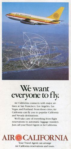 1980 - September 1- Air California / Air Cal Timetables, Route Maps, and History
