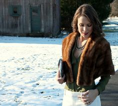 Vintage stole = Winter glam.