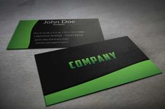 Modern textile textured black and green business card template. This template is available for free download as Adobe Photoshop (PSD) file.