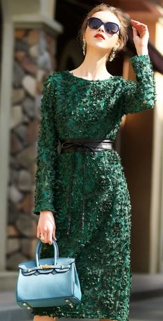 Elegant Green Tridimensional Floral Lace Patchwork Long Sleeve Bodycon Midi Dress