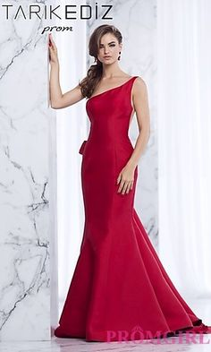 One Shoulder Prom Dress with a Sheer Back at PromGirl.com