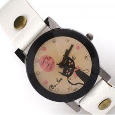 Reloj blanco con esfera en tonos pastel y borde negro. Con dibujo de un gato echándote de menos en su esfera. #reloj #relojpulsera #relojgato
