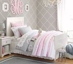 pink grey girls bedroom - Google Search