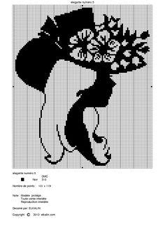 0 point de croix monochrome portrait, profil de femme - cross stitch profile of a lady, cameo