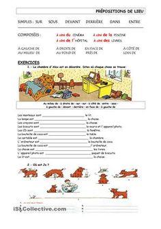 exercices sur les prépositions de lieu simples et composées - Fiches FLE