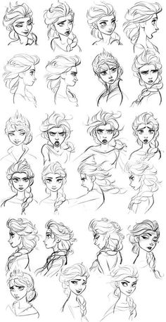 concept art - Elsa Frozen concept art - Elsa Look at the range of emotions! This is why Disney is the best!Frozen concept art - Elsa Look at the range of emotions! This is why Disney is the best! Drawing Expressions, Drawing Faces, Art Drawings, Drawing Sketches, Disney Expressions, Drawing Hair, Drawing Style, Funny Drawings, Drawing Ideas