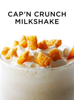 Cap'n Crunch cereal blended with creamy vanilla ice cream and topped with whipped cream. #BiteMeMore #milkshakes #drinks